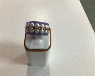 Lavender jade, pearl and ruby ring