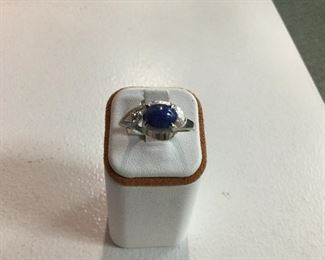 White gold, blue star sapphire and diamond ring
