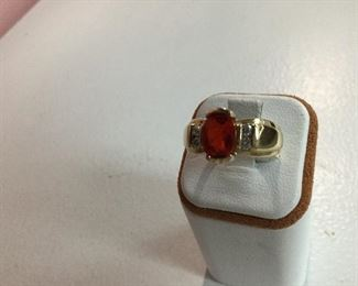 Yellow gold, fire opal and diamond ring