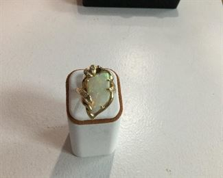 Yellow gold, opal and diamond ring