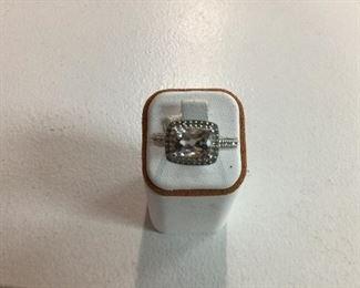 White gold, morganite and diamond ring