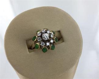 Yellow gold, diamond and enamel ring