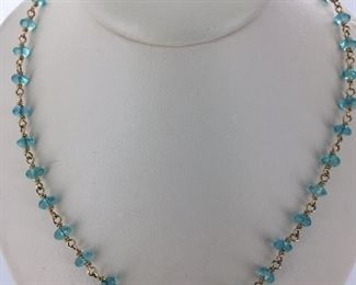 Yellow gold and apatite necklace