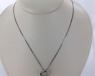 Sterling silver and diamond heart necklace