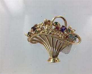 Yellow gold flower basket brooch