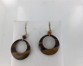 Yellow gold tiger eye earrings