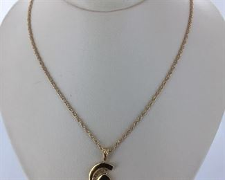 Yellow gold MSU necklace