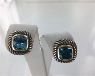 David Yurman Sterling Silver and gold, blue topaz earrings