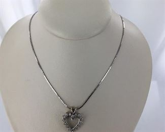 White gold and diamond heart necklace
