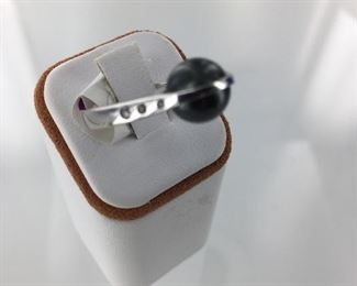 Frank Reubel SS black pearl and white sapphire ring
