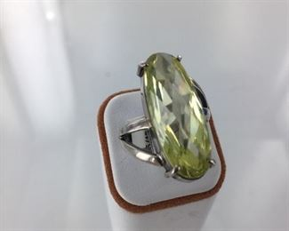 SS Green stone ring