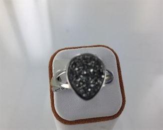 SS Druzy quartz ring
