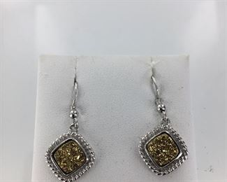 SS druzy quartz earrings