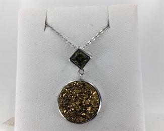 SS druzy quartz peridot necklace