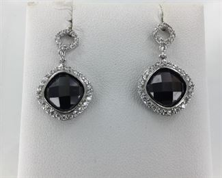 SS black and white cz earrings