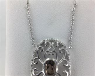 SS smoky quartz necklace