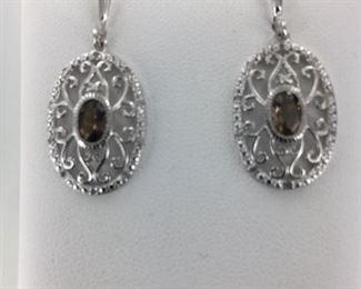 SS smoky quartz earrings