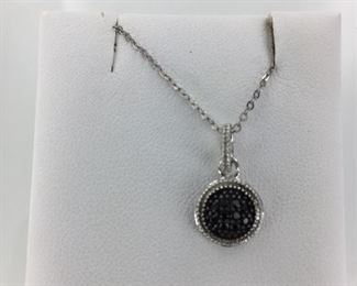 SS black and white cz necklace