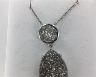 SS druzy quartz necklace