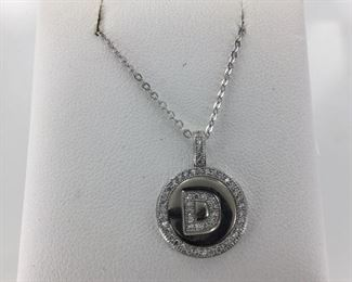 Sterling Silver and CZ Initial Necklace