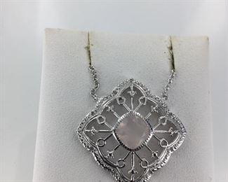 Sterling Silver and Rose Quartz Pendant