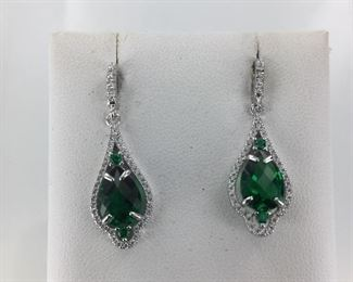 Sterling Silver, Green and White stone Earrings