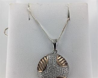 Sterling Silver and Rose Gold Plated, CZ Necklace