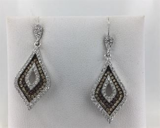 Sterling Silver White and Chocolate CZ Earrings