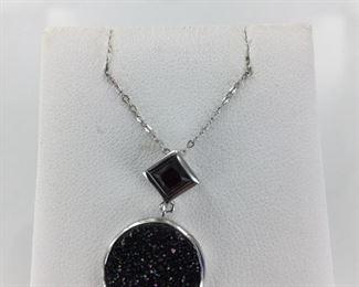 Sterling Silver Druzy Quartz and Garnet Necklace