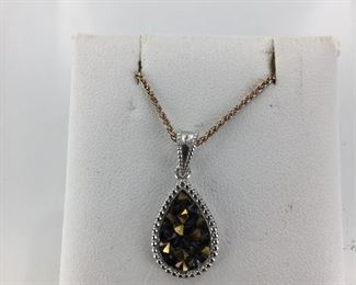 Sterling Silver and Druzy Quartz Necklace