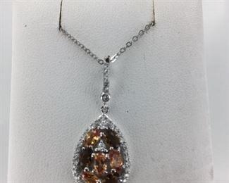 Sterling Silver Multi Colored Stone Necklace