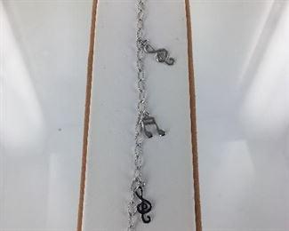 Sterling Silver Musical Note Bracelet