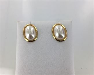 Yellow Gold Plated Mabe Pearl Earrings