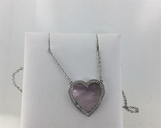 Sterling Silver Pink Mother of Pearl and CZ Necklace