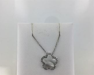 Sterling Silver Mother of Pearl and CZ Necklace