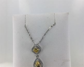 Sterling Silver, Yellow and White CZ Necklace