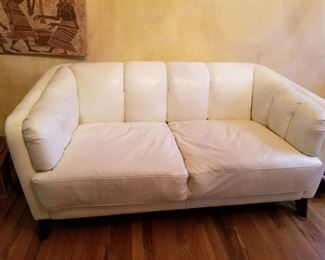 Italian design-top end white leather sofa.