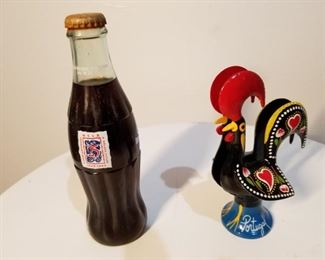 Vintage soft drink bottle, decorative chicken via Portugal