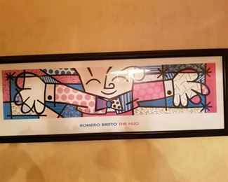 Romero Britto 'The Hug' framed, well established artist,