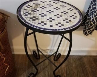 Mosaic top side table, metal support