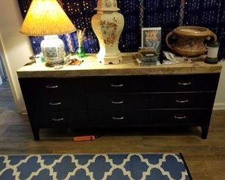Marble top chest w/ drawers and two matching end tables