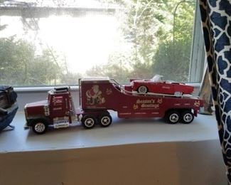 Toy semi truck carrier w/ car on back