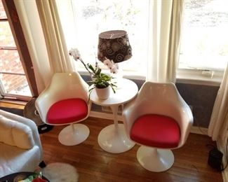 Pair of chairs and side stand, mid century, see next 3 photos