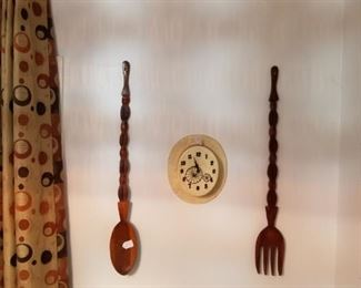 Large spoon and fork, decorative,