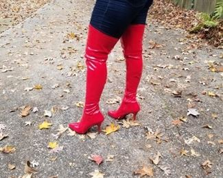 RED Thigh-length boots