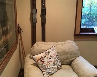 One of a pair of armchairs, antique wooden skis