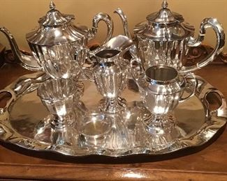 Mexican sterling tea/coffee set with sterling tray