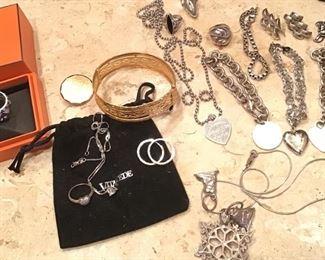 Hermès silver band, 18k bangle, Tiffany sterling bracelets