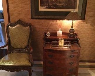 Small mahogany fall front desk