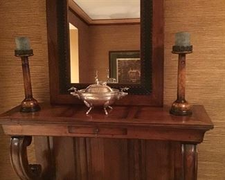 Neoclassic style console and mirror, silverplate tureen not being sold